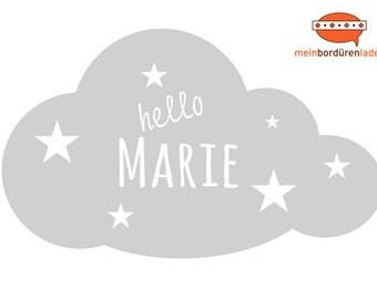 Wandtattoo: Wolke mit Sternchen - mit Name personalisierbar   Wandsticker, Wandaufkleber, Wandgestaltung, Wolke für Babyzimmer, Kinderzimmer