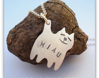 Trailer - cat - handmade in 925 sterling silver