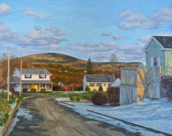Town Scene, oil painting