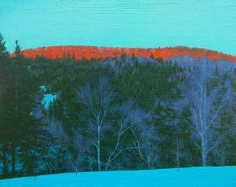 Winter Sunset, Original Oil Painting