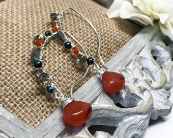 Carnelian, Freshwater Pearl, Labradorite, Swarovski Crystal, Drop Earrings