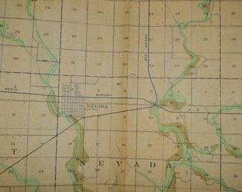1903 Original Antique Iowa Map, Nevada Iowa Map, Vintage Iowa Map, Iowa History