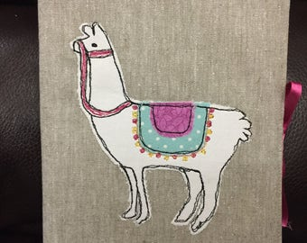 Llama | Alpaca | Handmade A5 Fabric Covered Padded Notebook | Journal