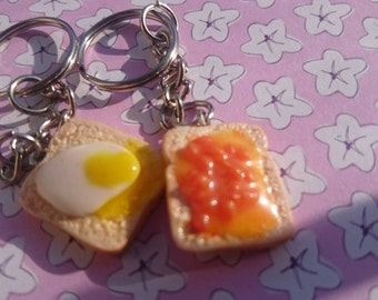 Egg and Beans on toast keyrings
