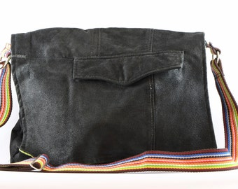 Upcycled leather, black suede, cross-body, messenger bag
