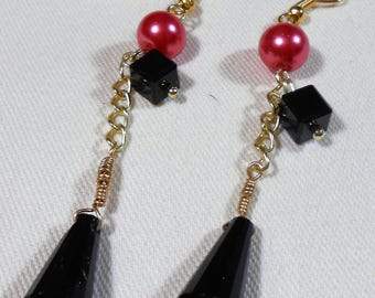 Duo Drop Earrings Pink and Black