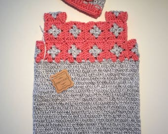 Granny Square Baby Dress/Hat