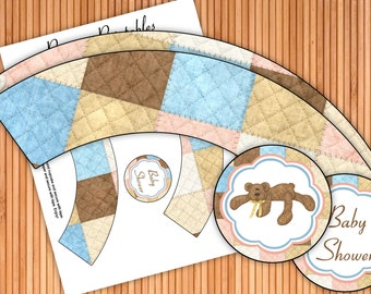 Bear Necessities - Baby Shower Printable Cupcake Wrappers and Toppers - Instant Download