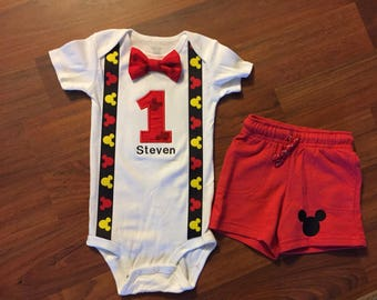 SALE!! Mickey mouse inspired 1st birthday boy shorts outfit, 1st birthday boy outfit, Baby boy first birthday outfit, Mickey smash cake, dis