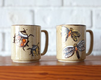 Pair of Vintage Ceramic Mugs with Insects Dragonfly and Ladybug