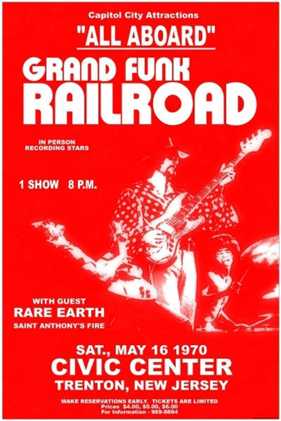 grand funk railroad 1970 concert poster beautiful. Black Bedroom Furniture Sets. Home Design Ideas