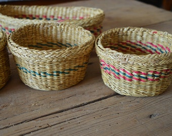 Italian handwoven, bowl baskets from reed