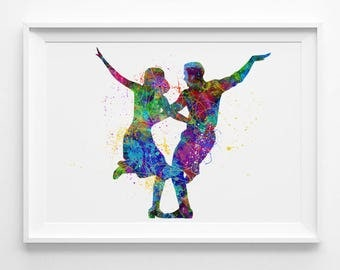 La La Land Art Print silhouette printable instant download La La Land watercolor movie colorful art print watercolor digital download (045)