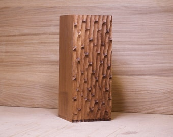 Wooden vase with a unique texture