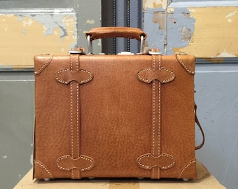 Vintage 80s Leather Small Suitcase