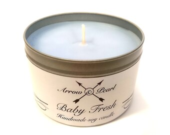 Baby Fresh Scented Handmade Soy Tin Candle