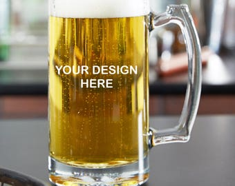 Custom Engraved/Etched  25 oz Beer Mug, you choose your text and font