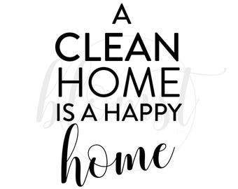 A Clean Home Is A Happy Home - REAL foil, print, handmade, homeware, laundry room, gold, silver, rosegold
