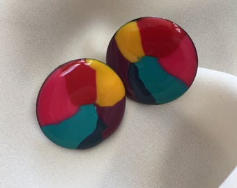 Hand painted  multi-colour studs - Summer spring earrings - Vintage handmade earrings - Yellow red pink turquose earrings