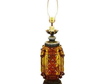 Mid Century Amber Bubble Glass Lamp