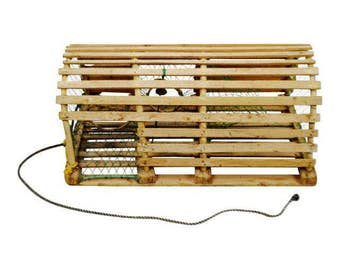 Vintage Full Size Wood Lobster Trap