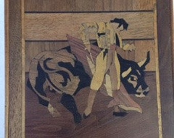 Bullfighter done with Inlaid Wood