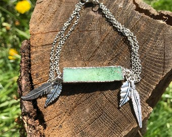 Green Druzy Silver Feather Bracelet