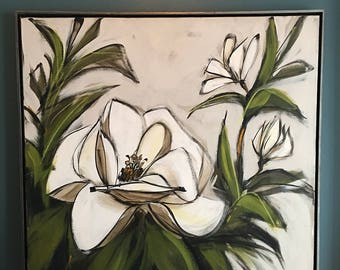 MAY SALE !!  Mid Century Large McCaine Magnolia Painting