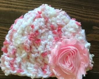 Pink Crochet Newborn Hat with Shaggy Flower