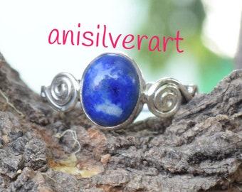 Lapis Lazuli Ring/ Blue Lapis Ring/ Lapis Lazuli Silver/ Silver Lapis Ring/ Lapis Lazuli Jewelry