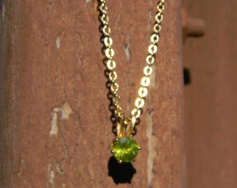 Peridot Pendant Necklace with Gold-plated Setting and Chain