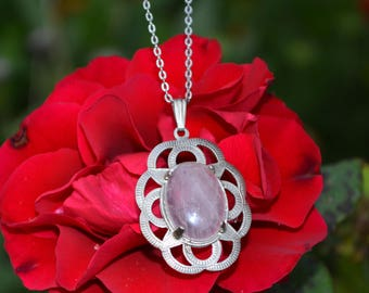 Rose Quartz Pendant Necklace with Silver-plated setting and 18inch chain