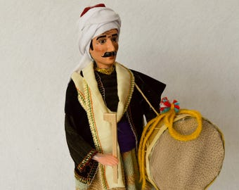 Handmade Doll With Turkish Traditional Clothes. Oriental Old Clothes. Drummer