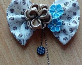 Tsumami kanzashi blue and beige bow