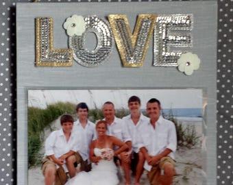 LOVE 5x7 Photo Frame Couple/Wedding Light Gray