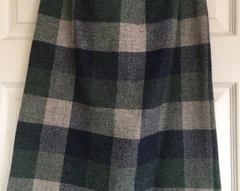 VINTAGE refashioned Pencil Wool Tartan Checked Skirt Size 10