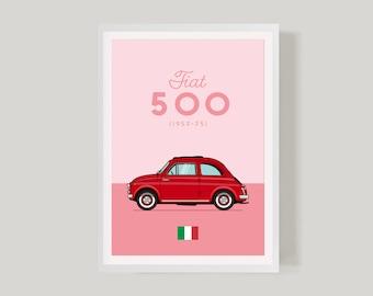 Fiat 500 Classic Car Retro Poster Print