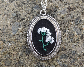 Hand embroidered baby breath floral cameo necklace