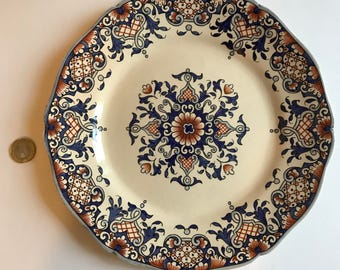 Plate ceramic with blue and Brown pattern