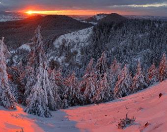 Snowing volcano