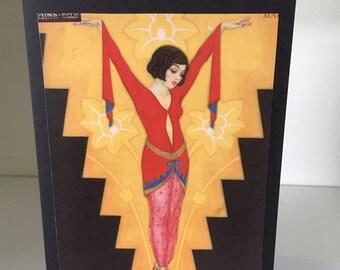 Deco lady card