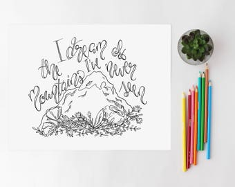 Mountain Adult Coloring Page / Coloring Page / Mountain Quote Coloring Page / Modern Coloring Page/ Coloring Book Page/ Floral Coloring