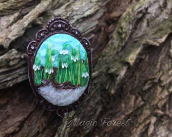 Polymer clay Brooch Floral brooch Snowdrops Polymer clay embroidery Gift for her Floral Snowdrops jewelry