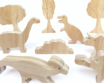 Dinosaur wooden toy set - unpainted Jurassic scene - eco friendly animal figurines with trees