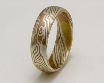 Custom Mokume Gane Ring 14k rose gold, 18k yellow gold and sterling  silver ring - woodgrain pattern