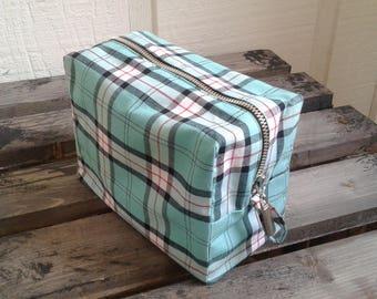 Teal Plaid Makeup/Travel Bag
