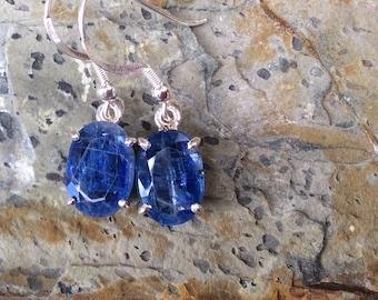Kyanite faceted drop earrings set in silver