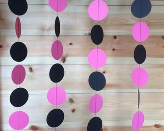Bright Pink and Black Circle Garland, Decor, Party Decor, Celebrations,