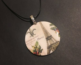 Handmade Upcycled Washer Necklace/Paris theme