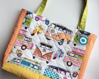 Quilted Tote, Quilted Bag, Quilted Handbag, Bag, Patchwork, Camper Van, Moped, Bright, Colourful, Unique, One of a Kind